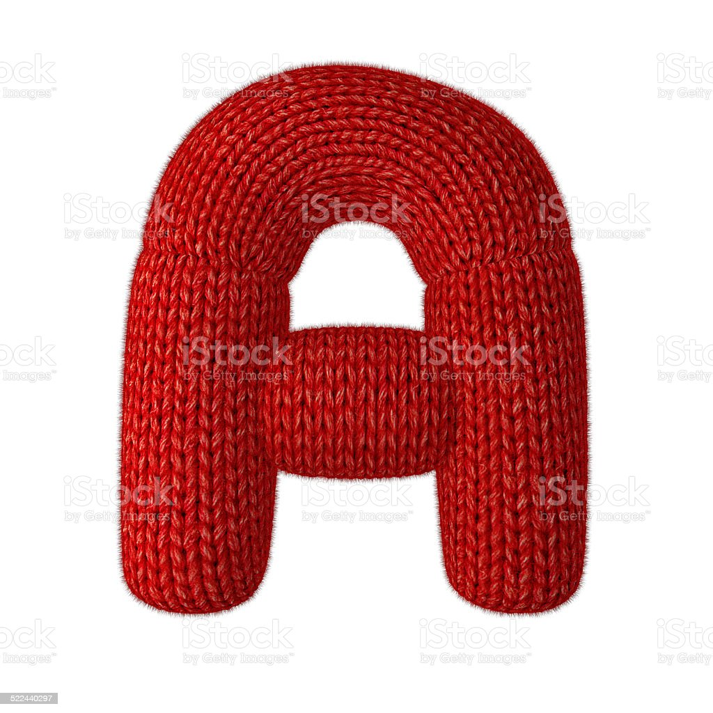 Letter A Made of Wool Knit Isolated on White Background stock photo