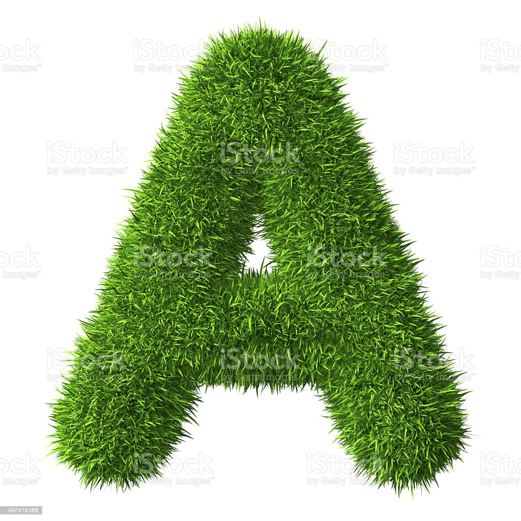Letter A of grass stock photo