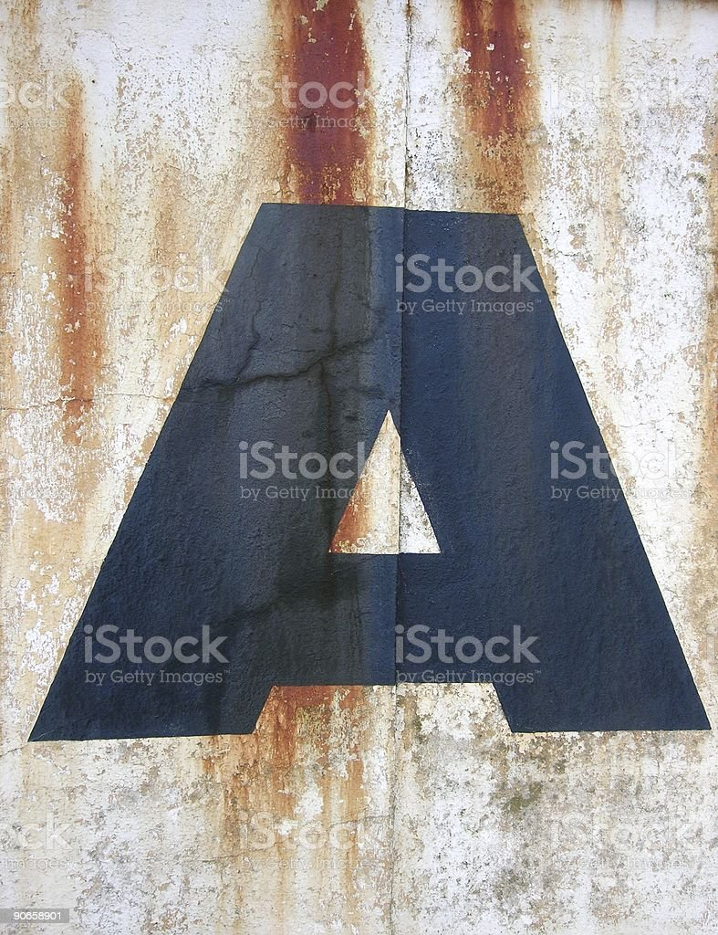 Letter A on old  Wall royalty-free stock photo