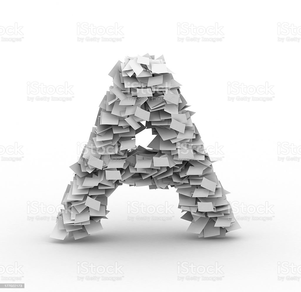 Letter A, stacked from paper sheets royalty-free stock photo