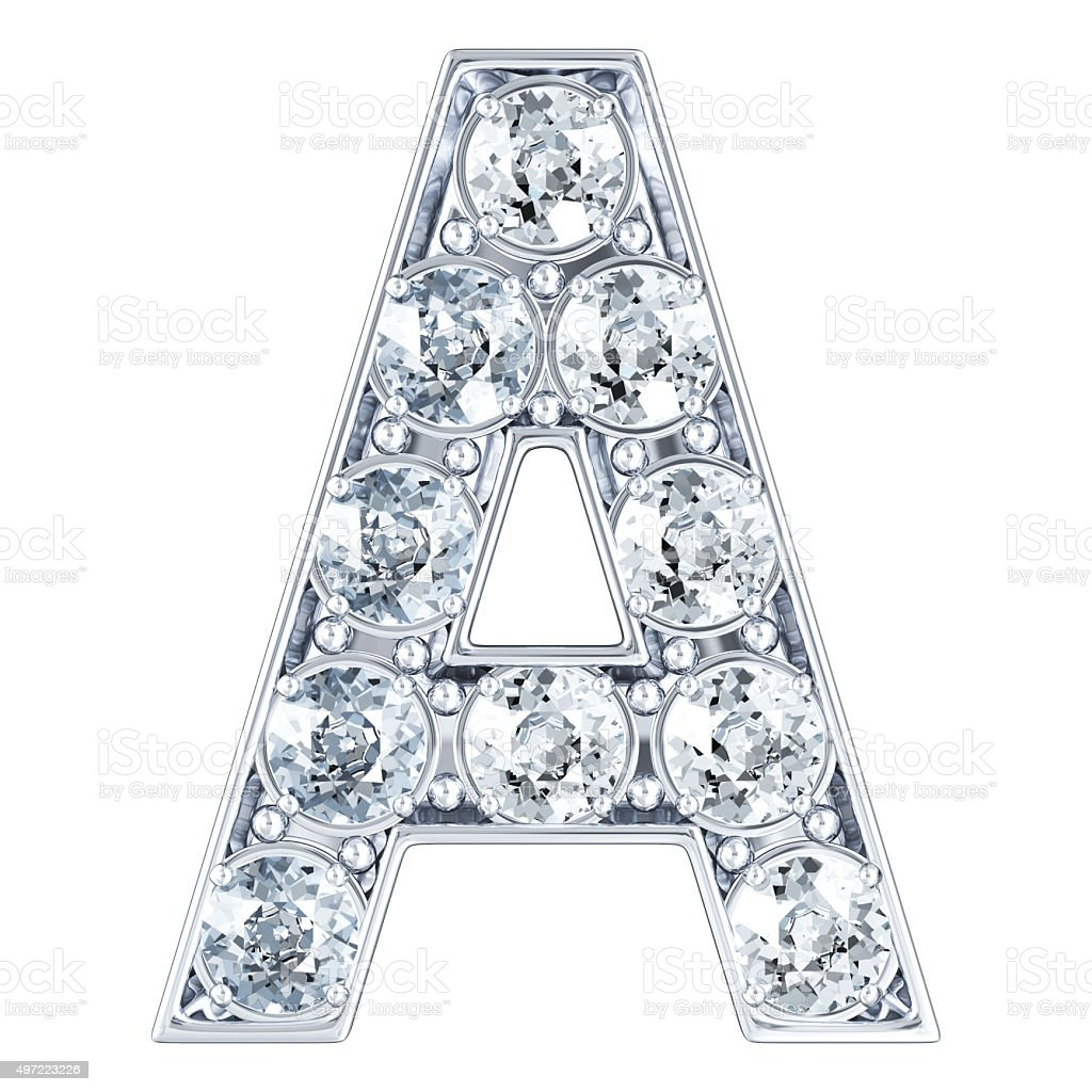 Letter A With Diamonds stock photo