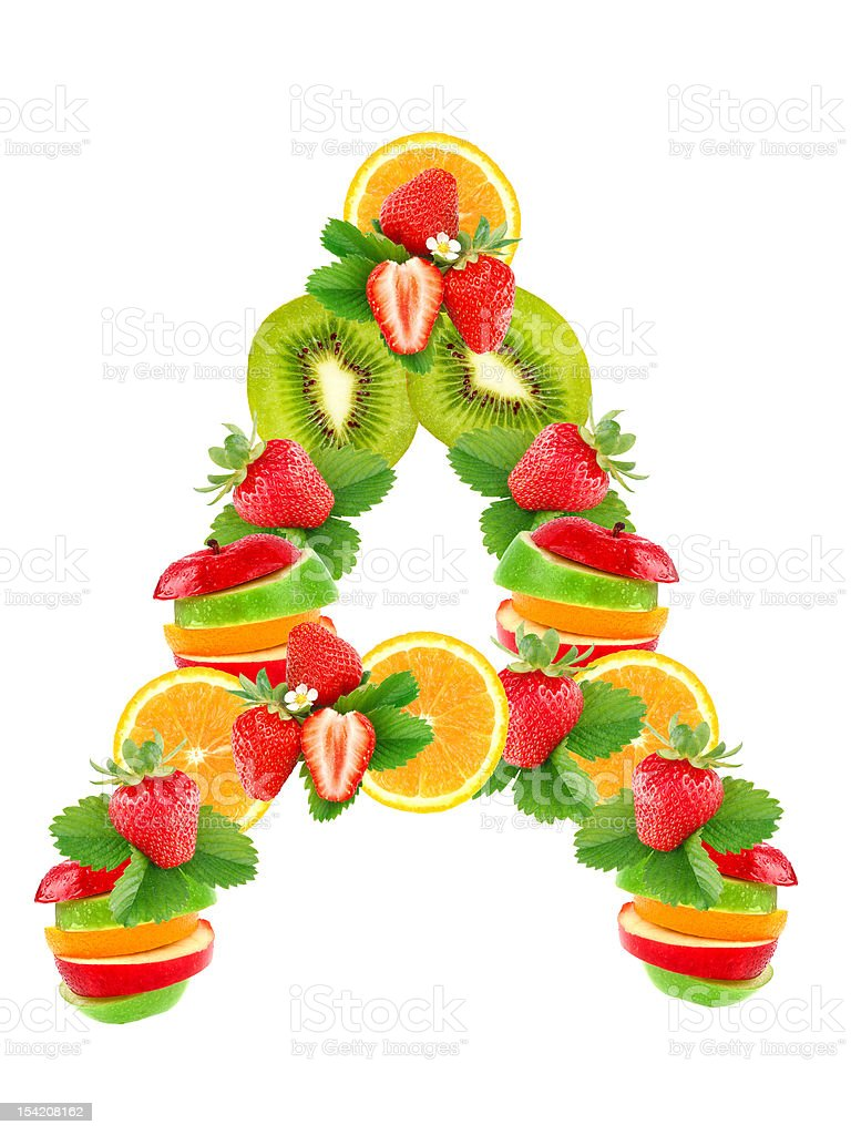 Letter A with fruit royalty-free stock photo