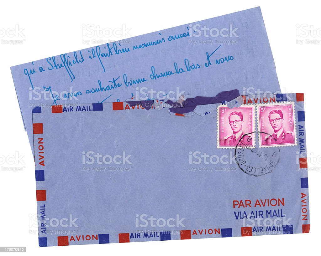 Letter and envelope from Belgium, 1962 royalty-free stock photo