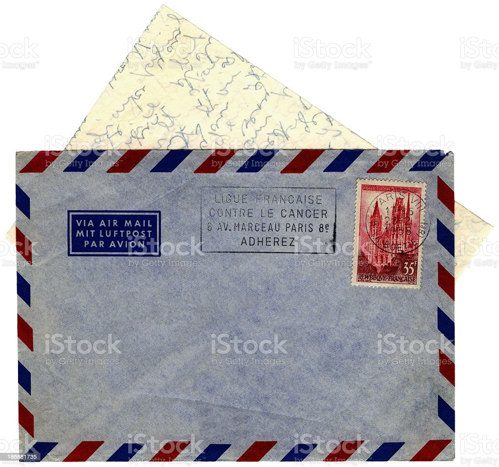 Letter and envelope from Paris, France, 1958 stock photo