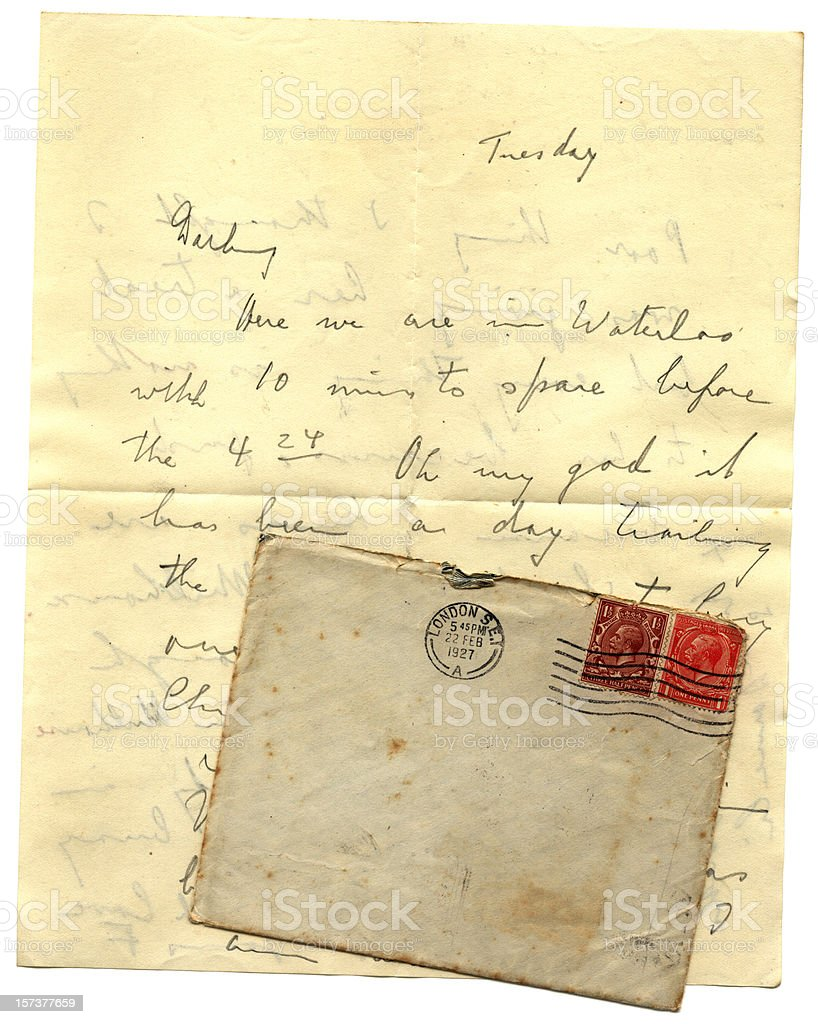 Letter and envelope posted from Waterloo Station in 1927 stock photo