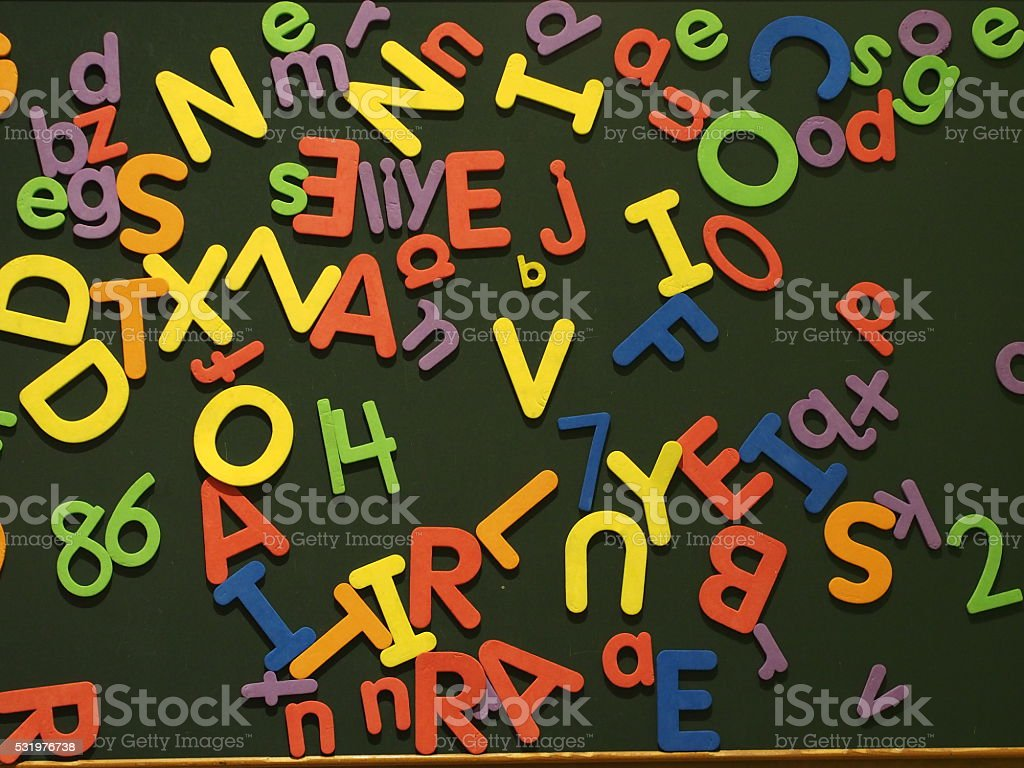 Letter and Numbers board stock photo