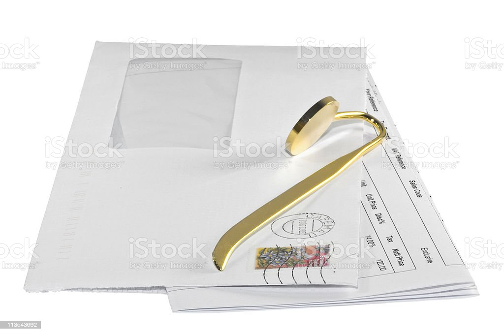 Letter and opener stock photo