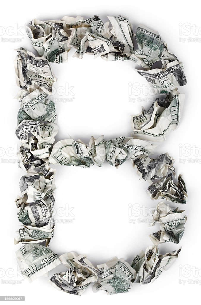 Letter B - Crimped 100$ Bills royalty-free stock photo