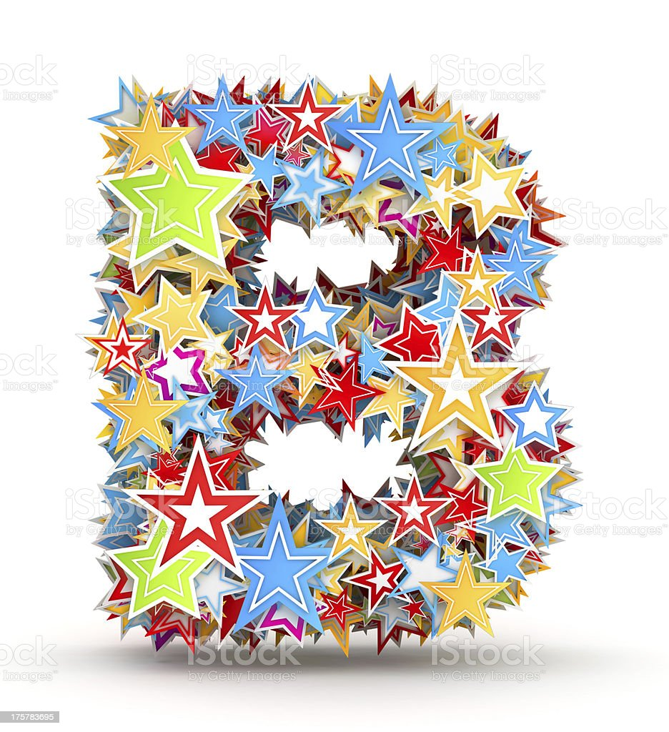 Letter B from colored stars royalty-free stock photo
