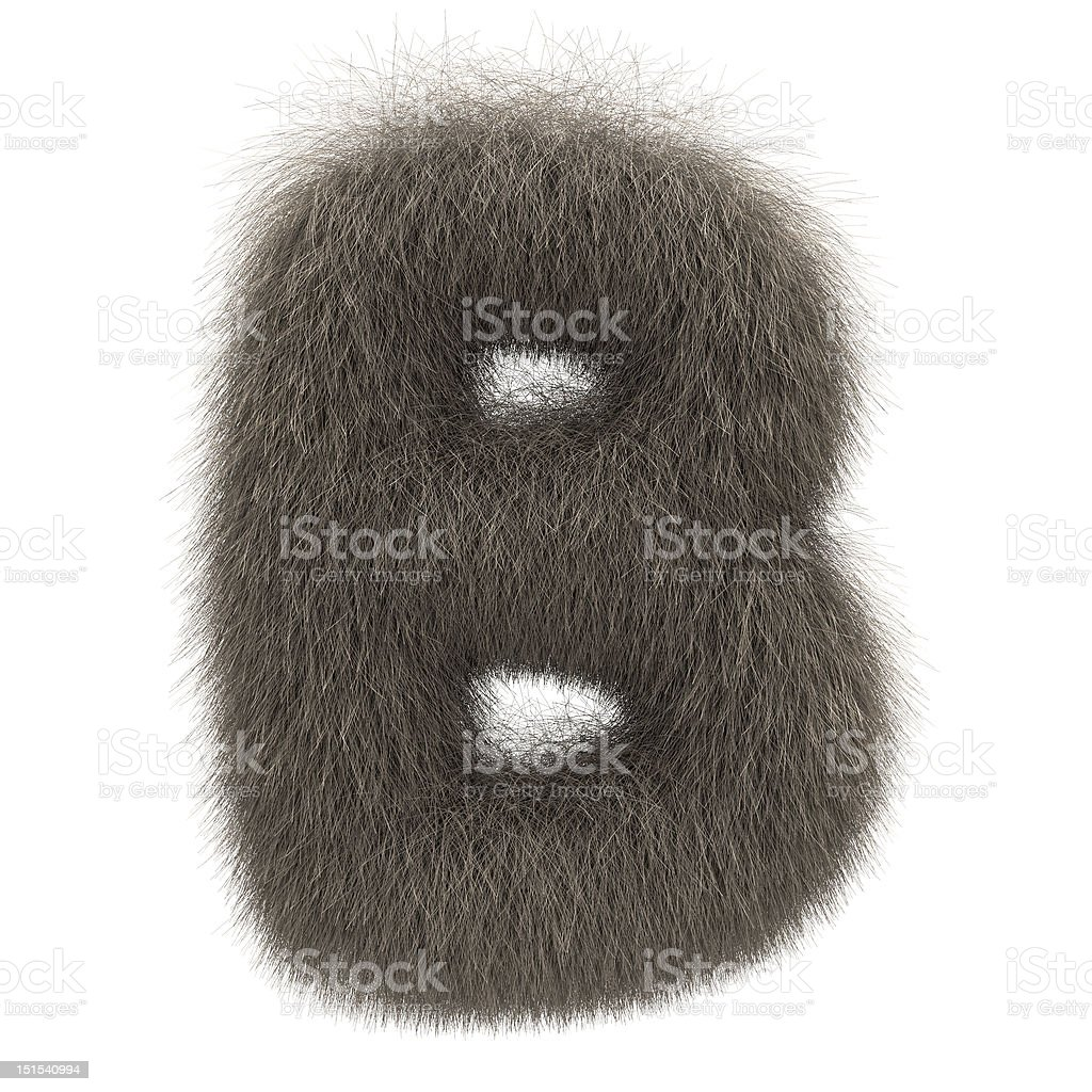Letter B from fur alphabet royalty-free stock photo