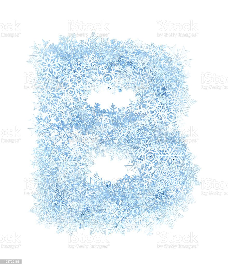 Letter B, frosty snowflakes royalty-free stock photo