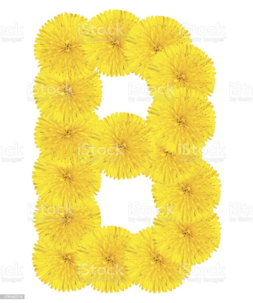 Letter B made from dandelions royalty-free stock photo