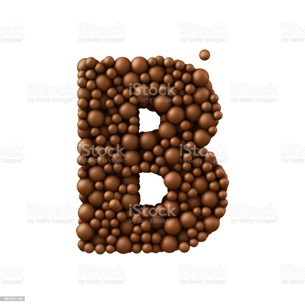 Letter B made of chocolate bubbles, milk chocolate concept, 3d render stock photo