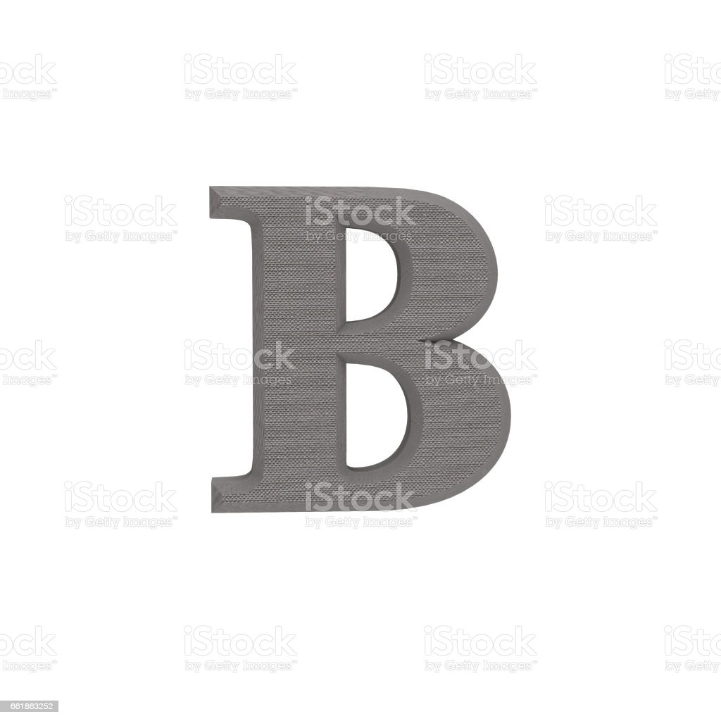Letter B made of cloth, tissue texture, 3d illustration stock photo