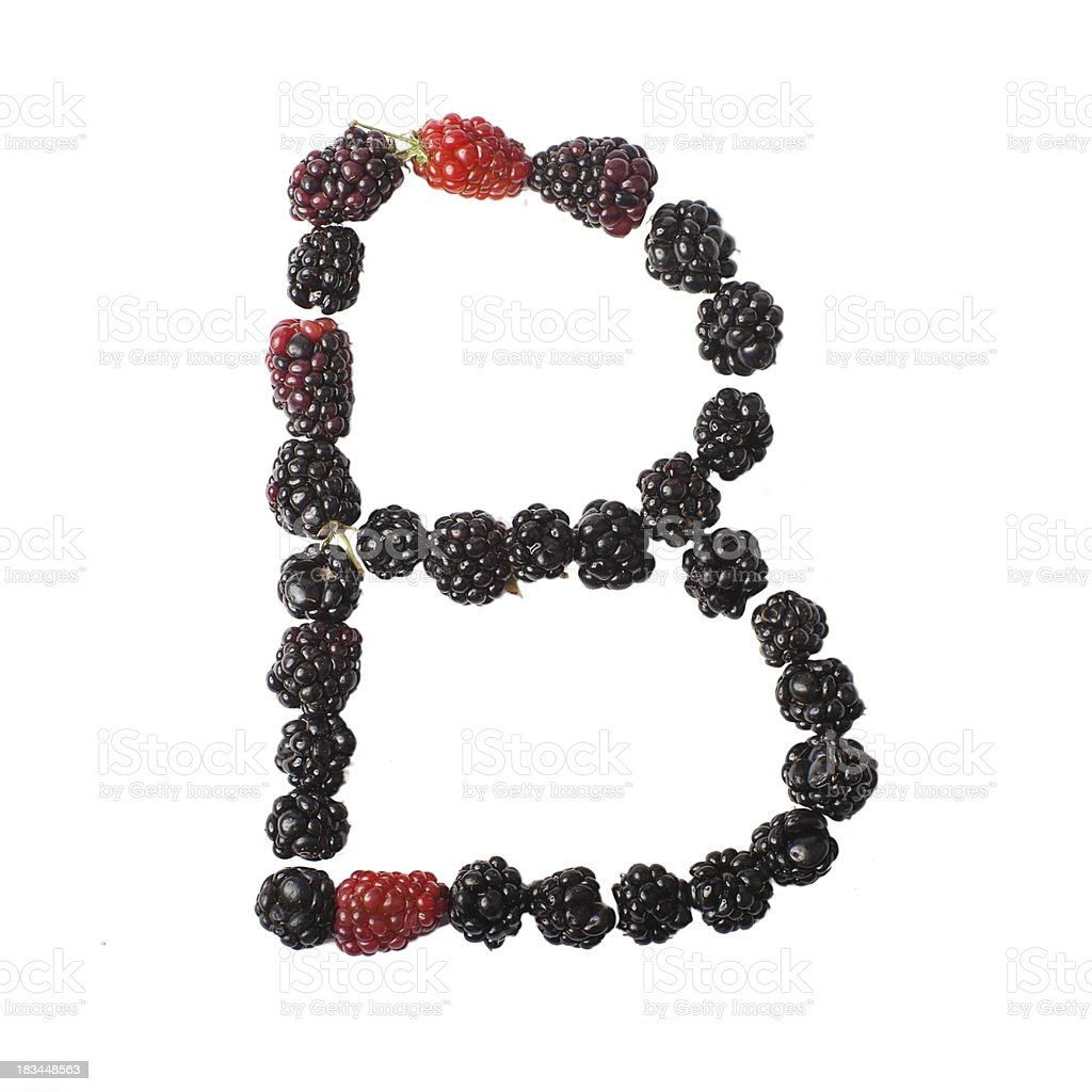 Letter B made up of blackberries royalty-free stock photo