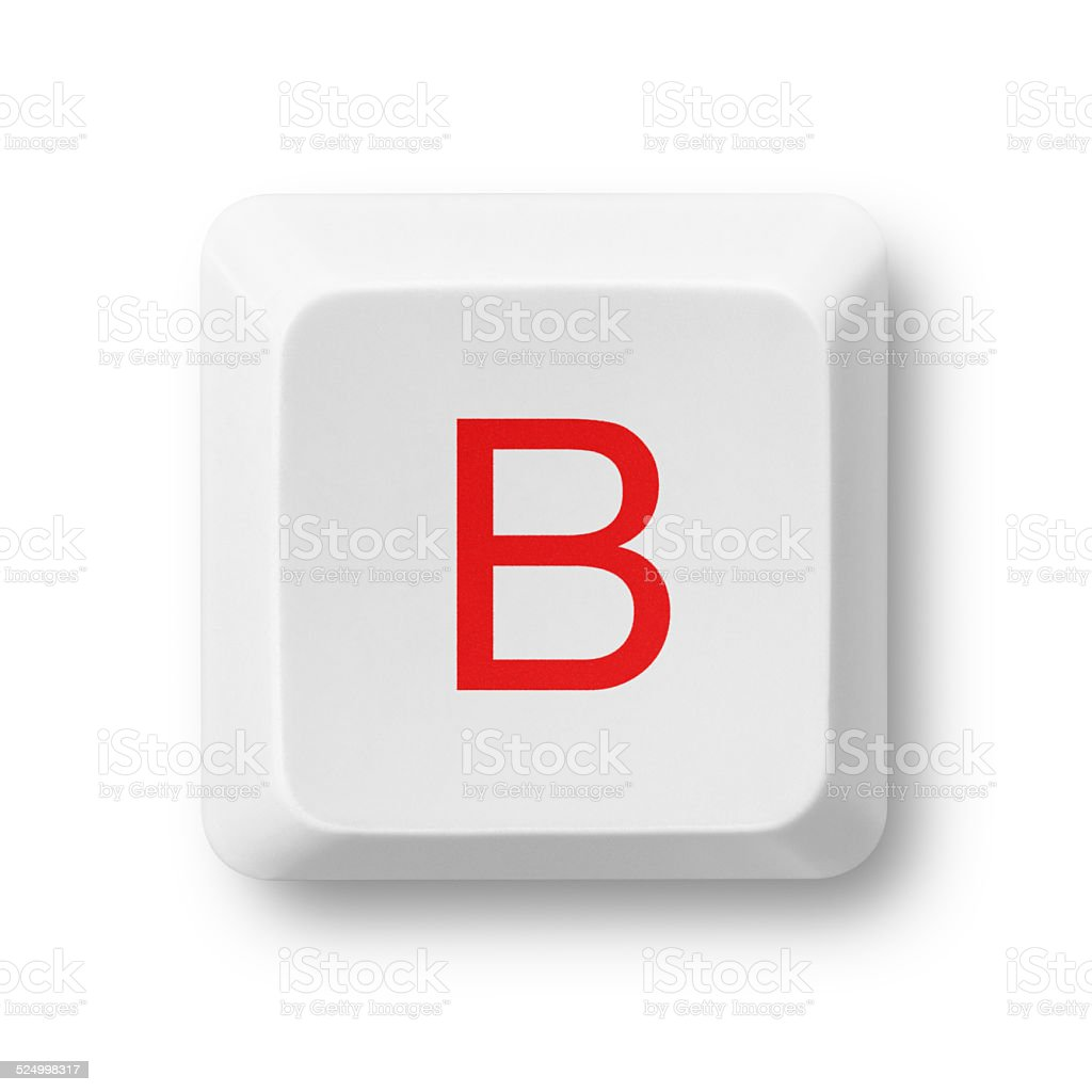 Letter B on a computer key isolated on white stock photo