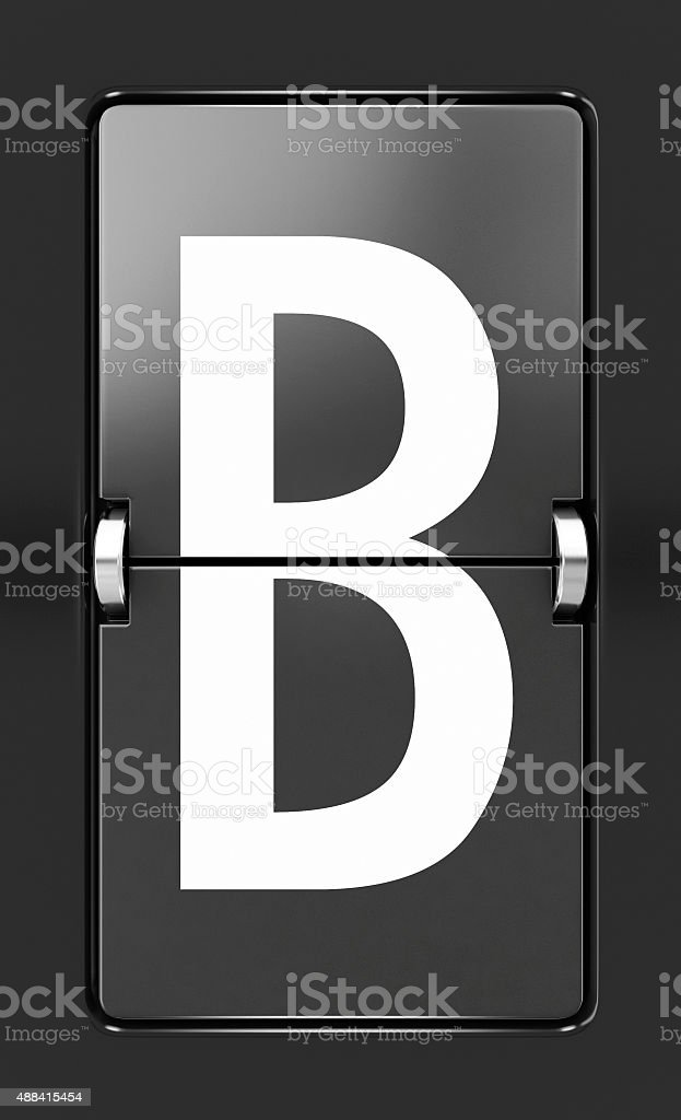 Letter B on a mechanical timetable stock photo