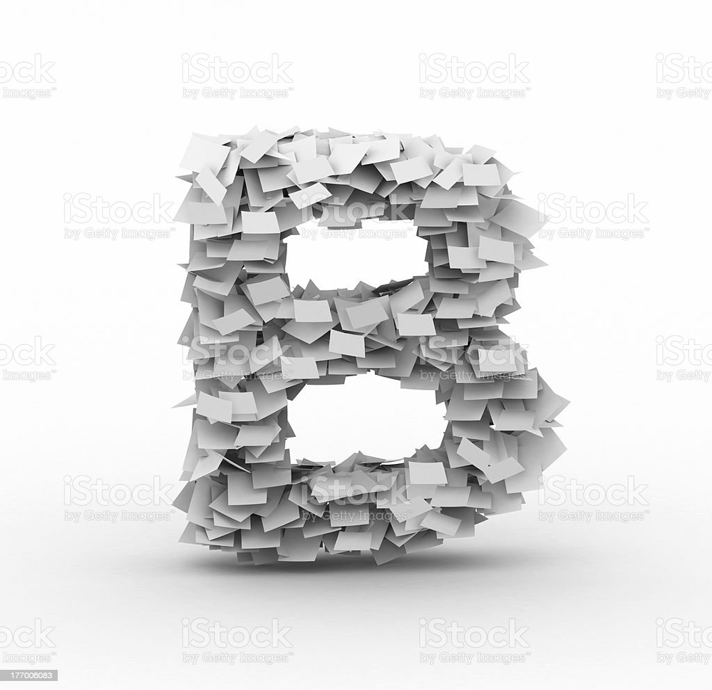 Letter B, stacked from paper sheets royalty-free stock photo
