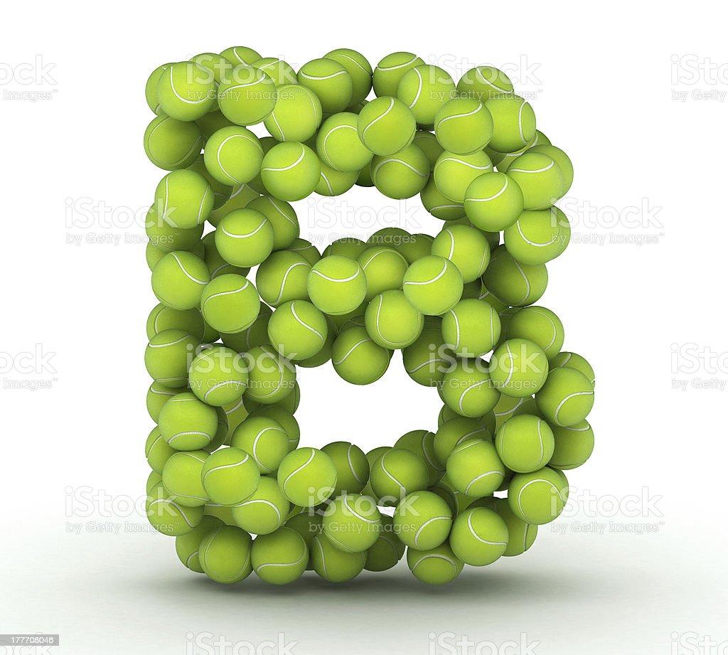 Letter B, tennis balls alphabet royalty-free stock photo