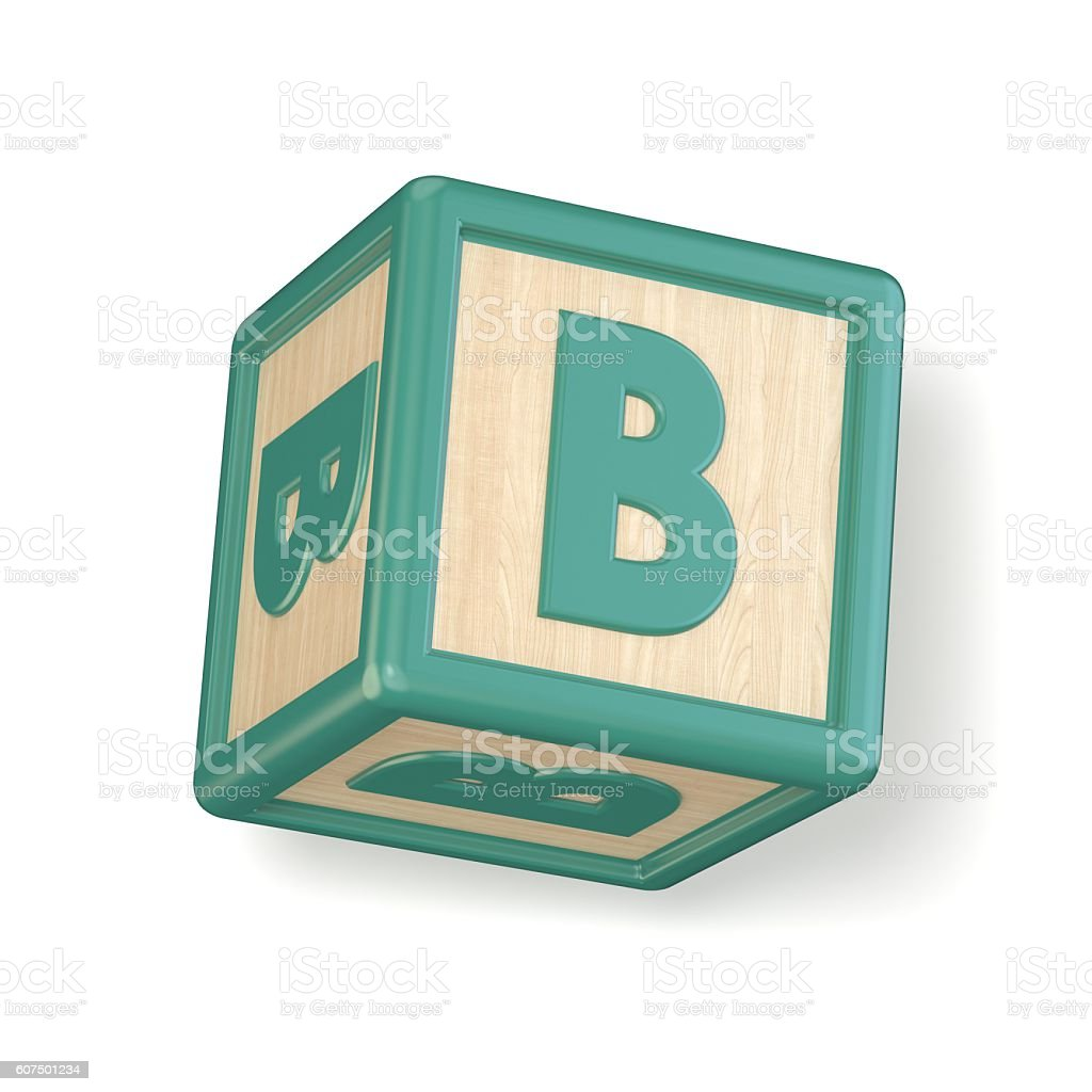 Letter B wooden alphabet blocks font rotated. 3D stock photo