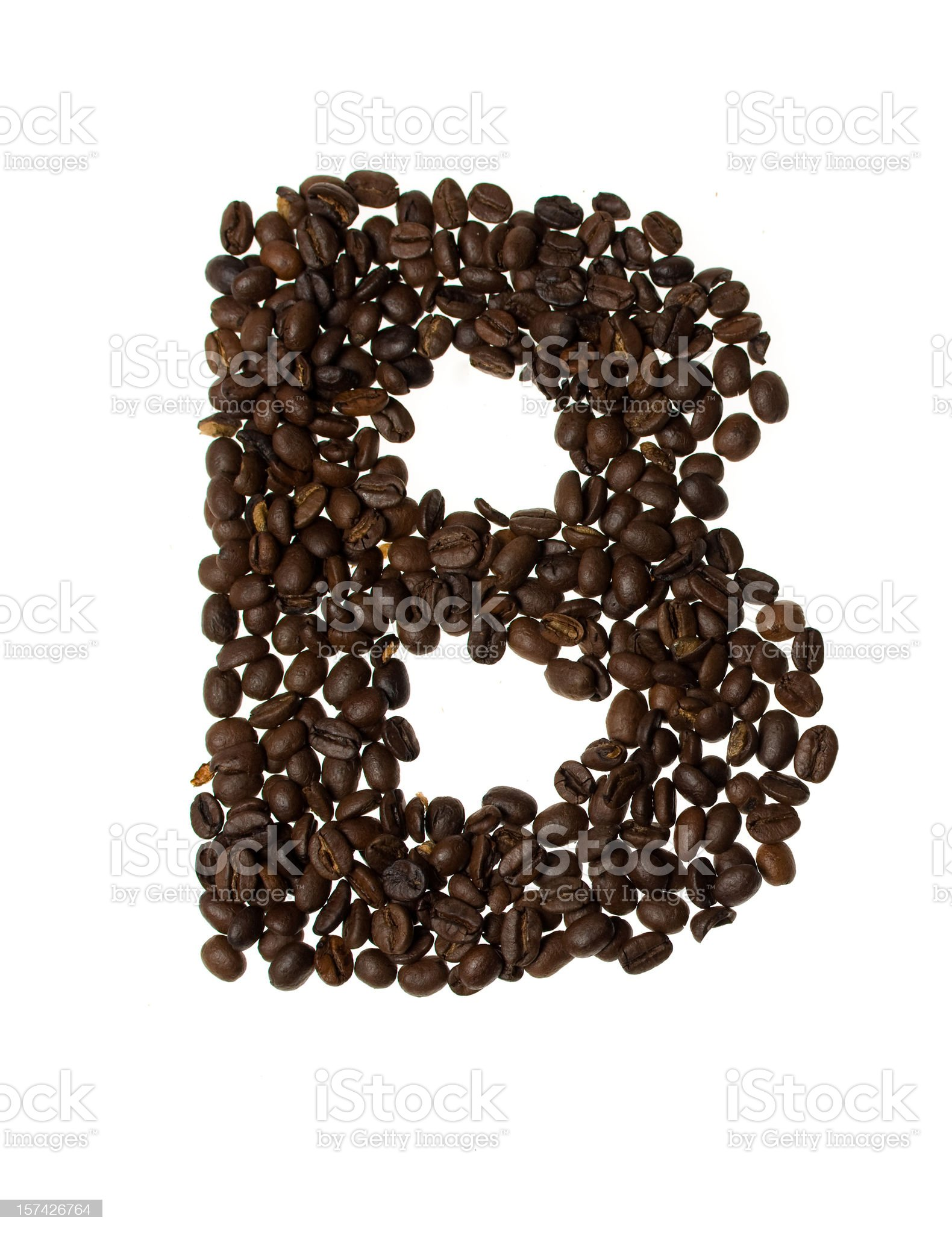 Letter B written with coffee royalty-free stock photo