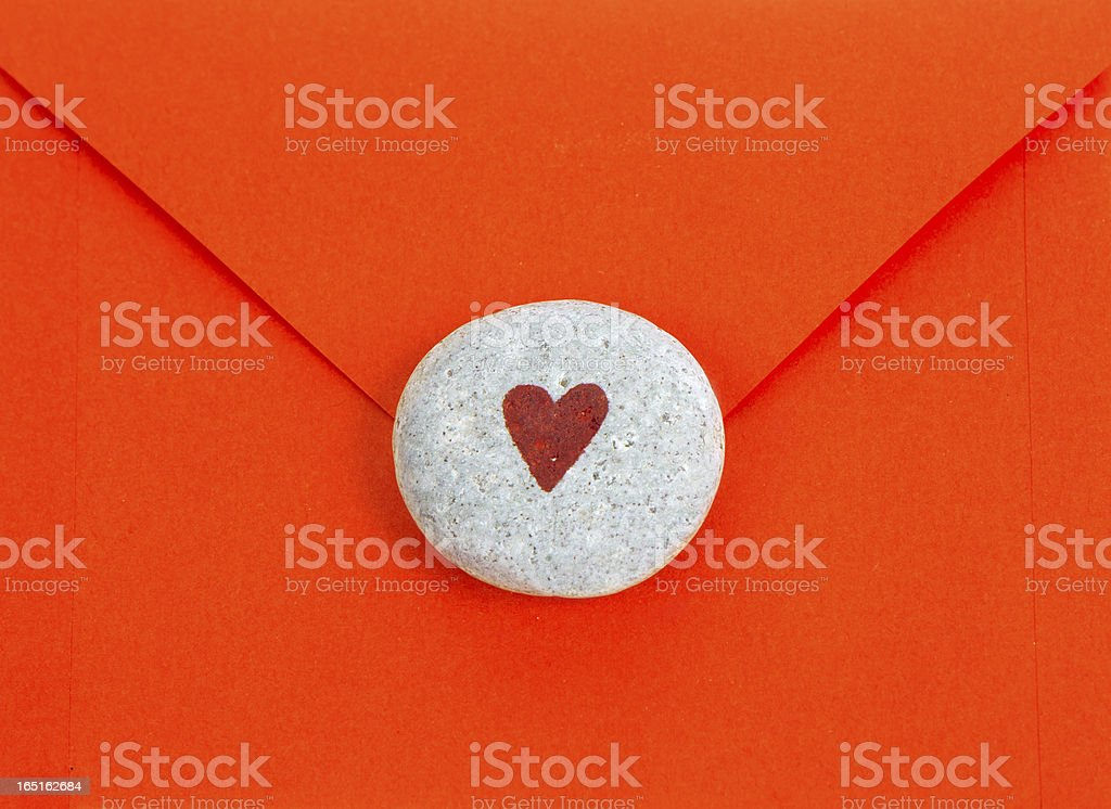 Letter background with heart royalty-free stock photo