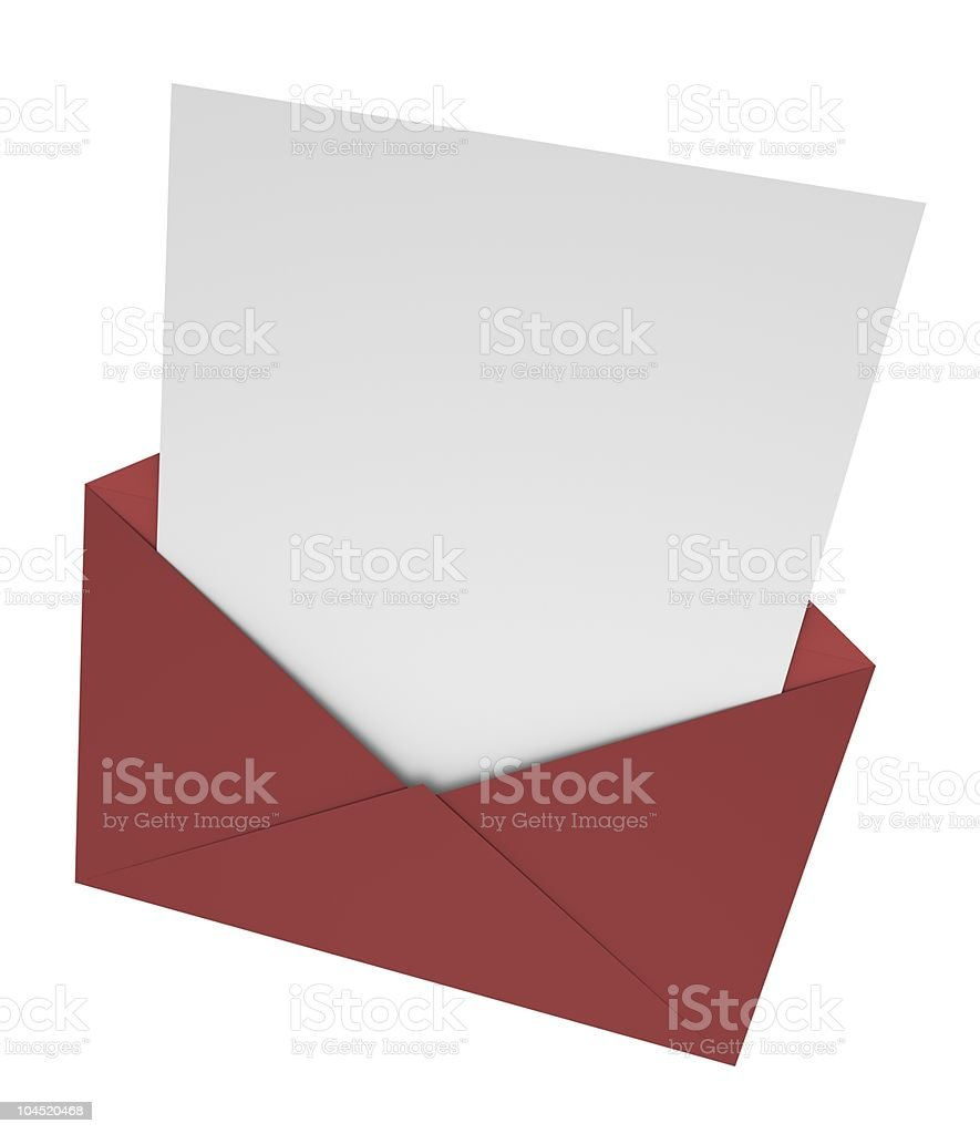 A letter being inserted into a red envelope  royalty-free stock photo