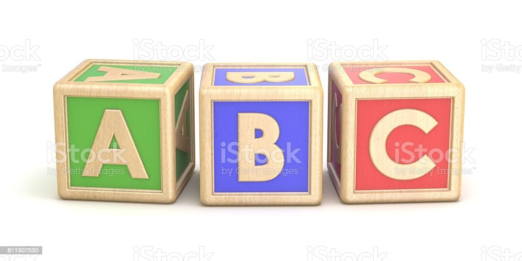 Letter blocks ABC. 3D stock photo