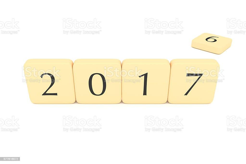 Letter blocks: Turn of the year, 2017, 3d illustration stock photo