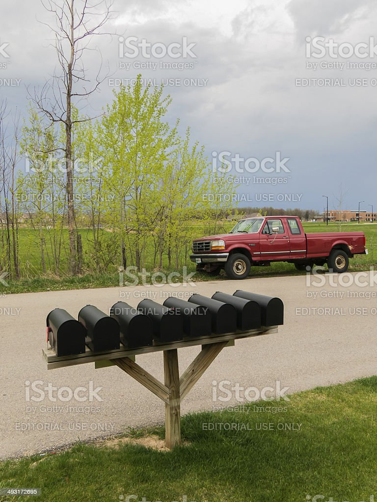 Letter box and a truck stock photo