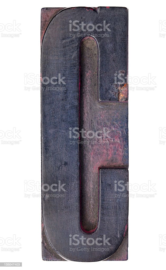 letter C in vintage letterpress type royalty-free stock photo