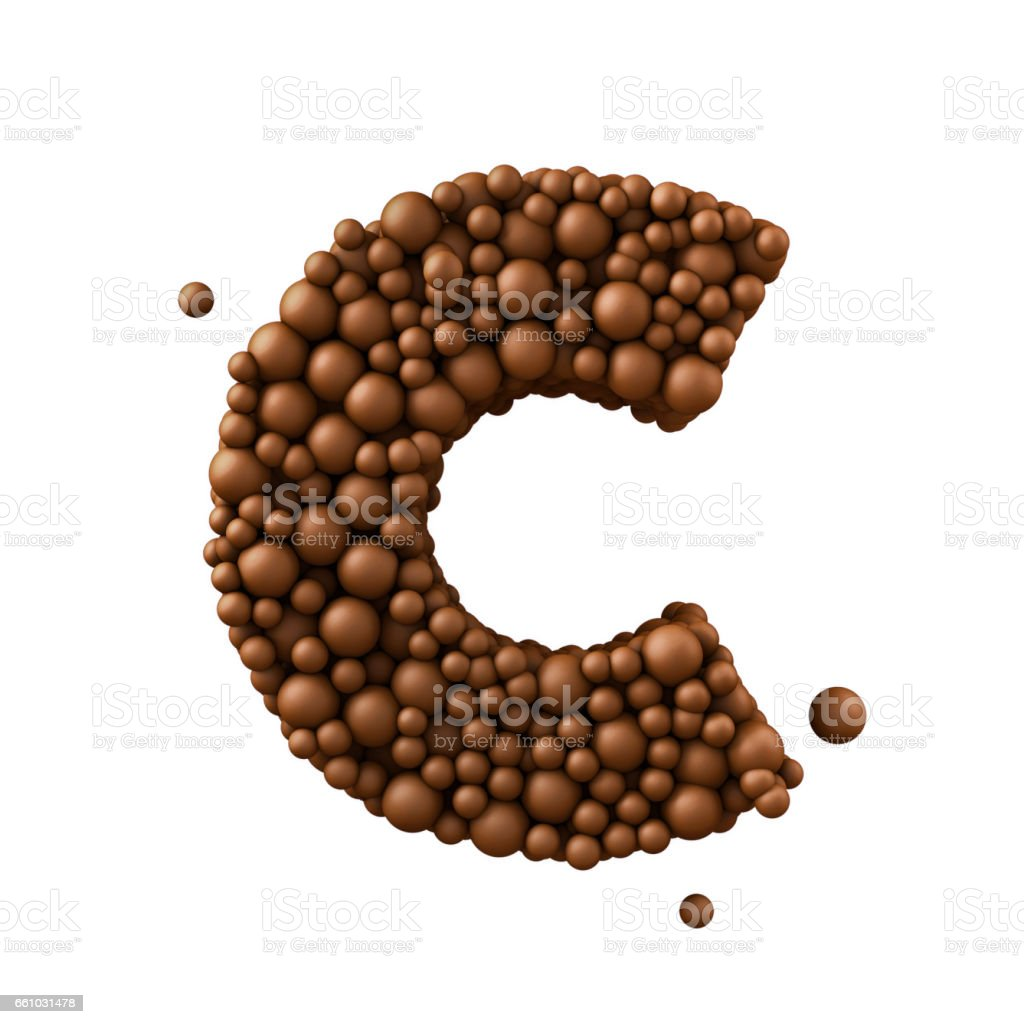 Letter C made of chocolate bubbles, milk chocolate concept, 3d render stock photo