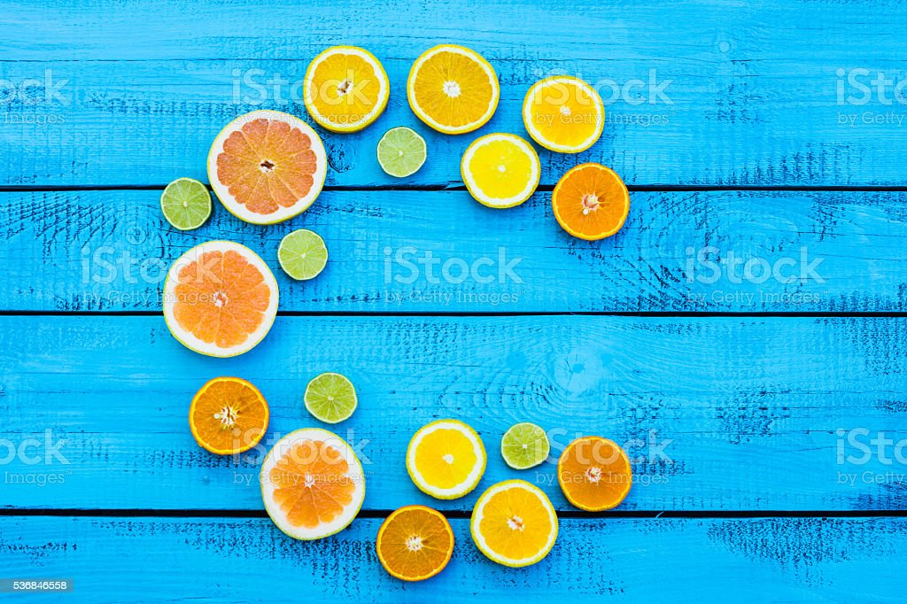 Letter C made of citrus fruits stock photo
