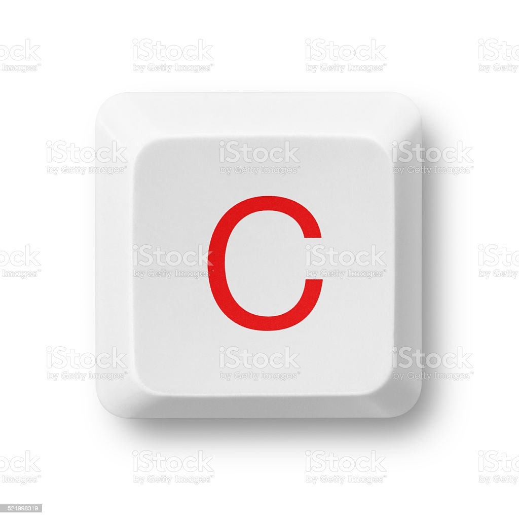 Letter C on a computer key isolated on white stock photo