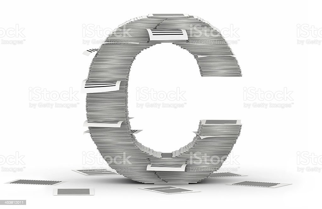 Letter C, pages paper stacks font stock photo