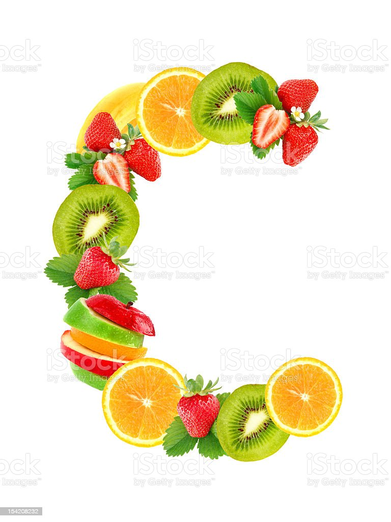 Letter C with fruit stock photo