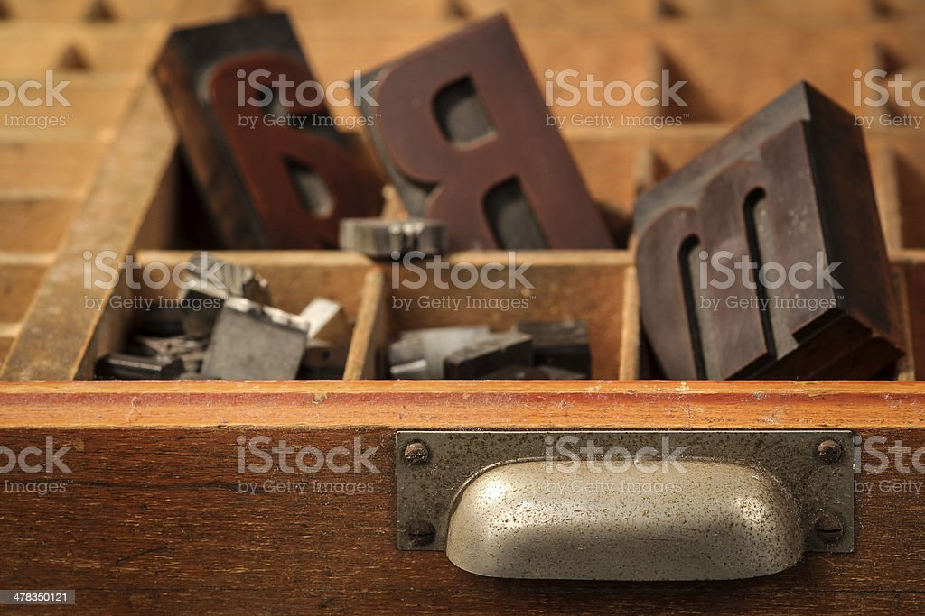 Letter case with old wood types stock photo