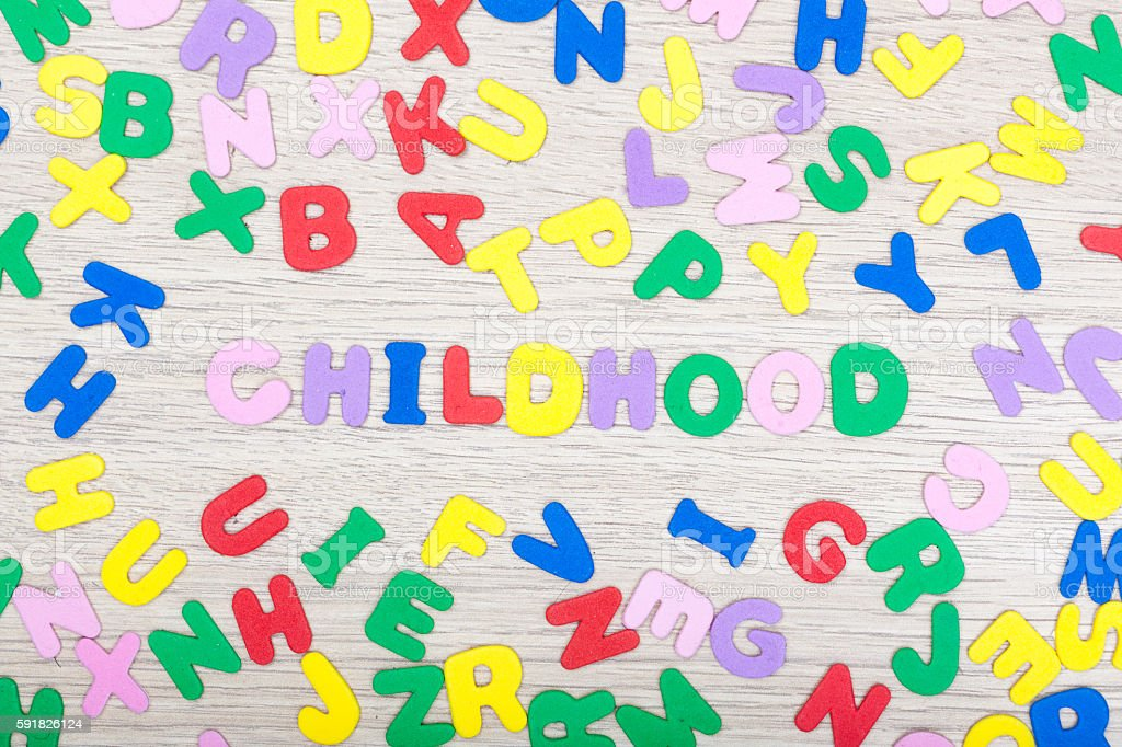 Letter cluster with english word childhood stock photo