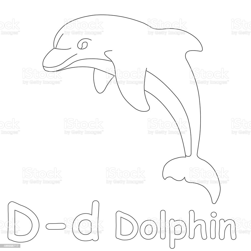 letter d for dolphin coloring page stock photo 486998717 istock