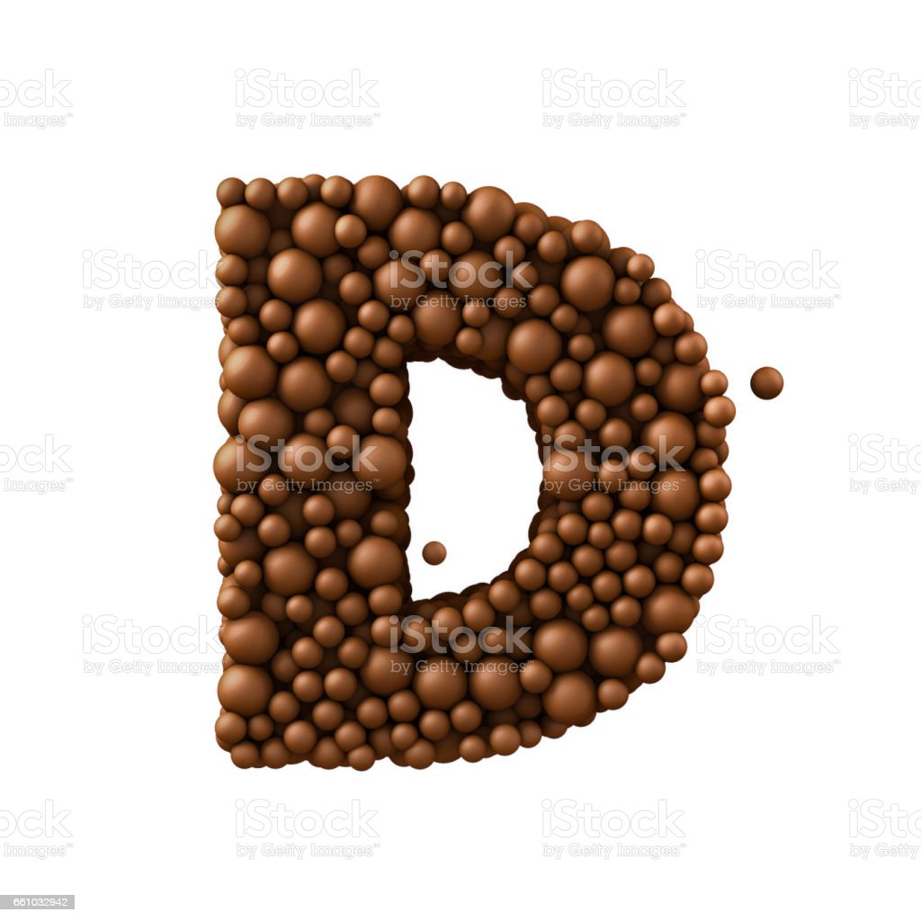 Letter D made of chocolate bubbles, milk chocolate concept, 3d render stock photo