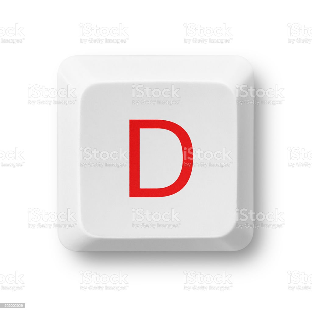 Letter D on a computer key isolated on white stock photo