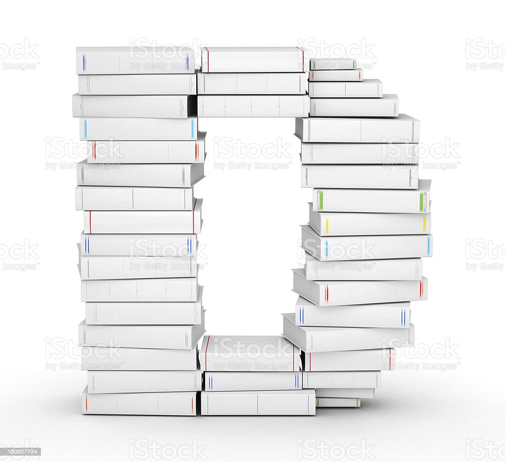 Letter D, stacked from blank books royalty-free stock photo