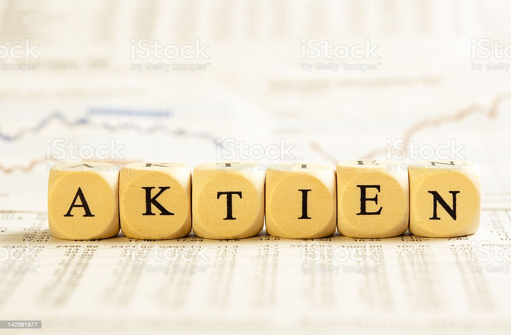 Letter Dices Concept: Aktien (German) royalty-free stock photo