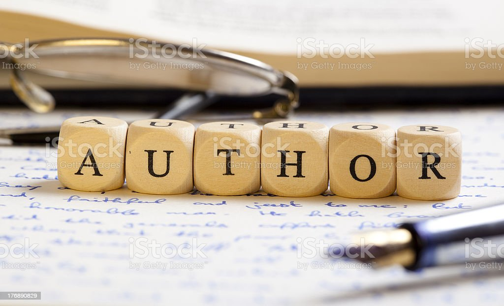 Letter Dices Concept: Author stock photo