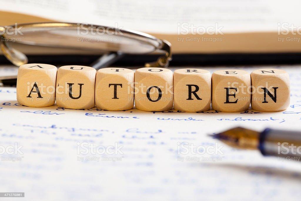 Letter Dices Concept: Autoren (German) royalty-free stock photo