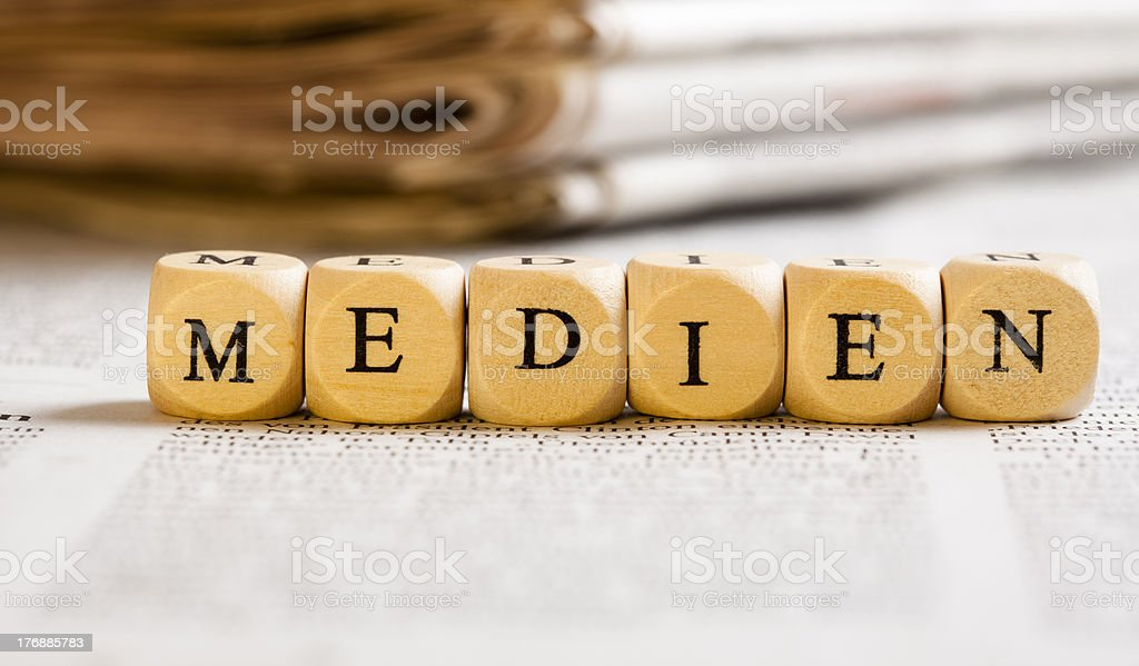 Letter Dices Concept: Medien (German) royalty-free stock photo