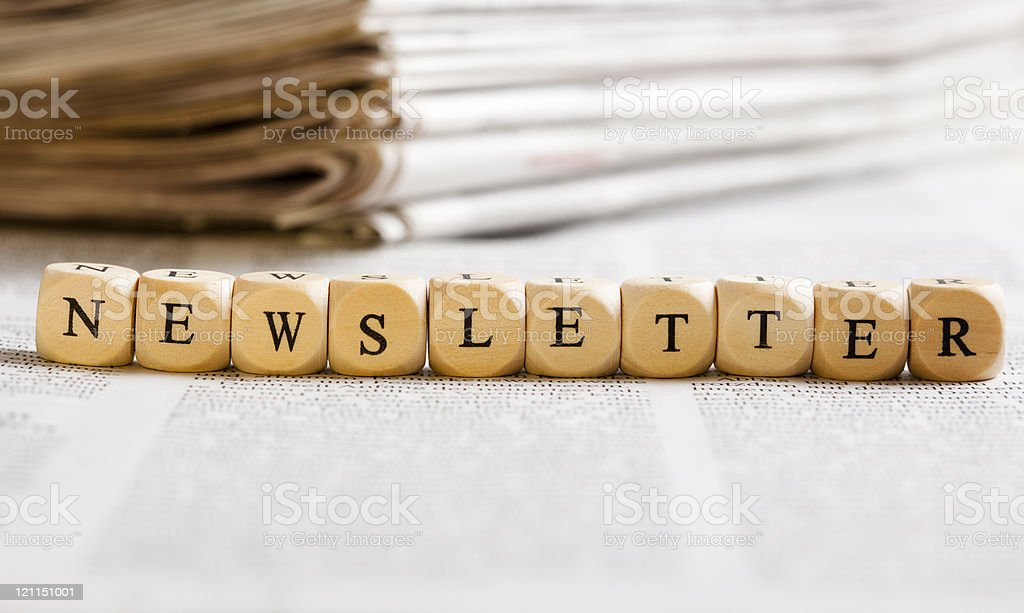Letter Dices Concept: Newsletter royalty-free stock photo