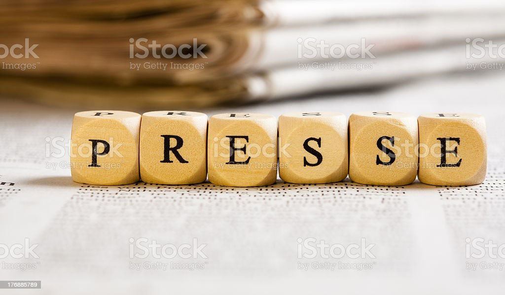 Letter Dices Concept: Presse (German) royalty-free stock photo