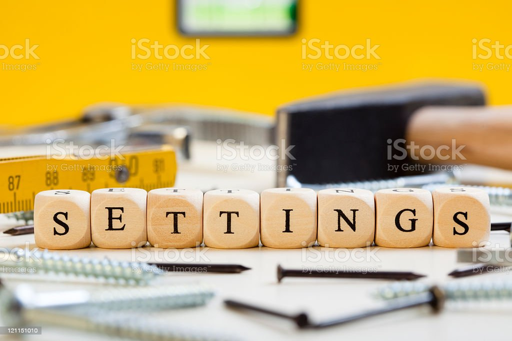 Letter Dices Concept: Settings royalty-free stock photo