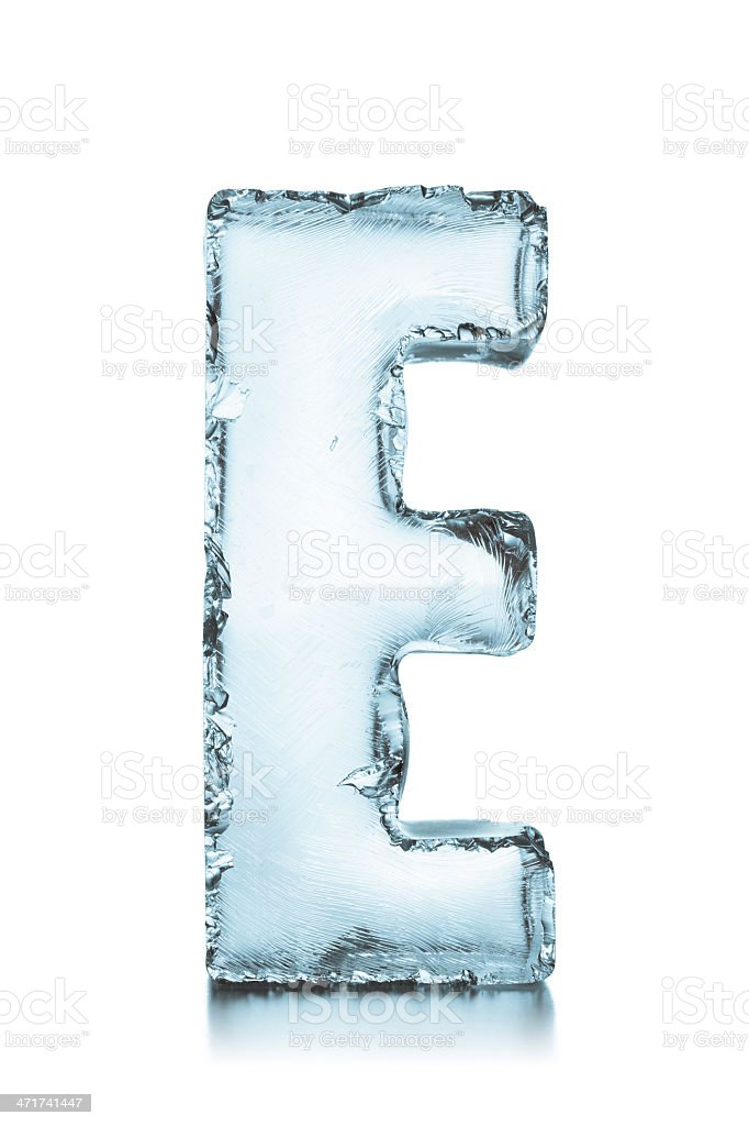 Letter E frozen ice block alphabet stock photo